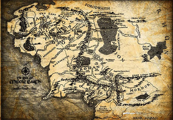 Middle Earth Lord Of The Rings Map Art Wall Art Print Poster Any